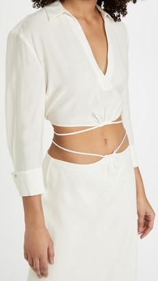 Jonathan Simkhai Mazzy Solid Strap Detail Crop Shirt