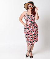 Unique Vintage Plus Size 1950s Black Floral Stretch Halter Sarong Wiggle Dress