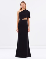 One-Shoulder Cape Cut-Away Gown