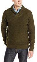 Scotch & Soda Men's Structured Shawl Collar Pullover with Zip-Detail, Melange Green