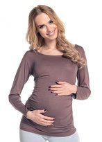 Happy Mama Boutique Happy Mama. Women's Maternity Jersey Stretch Top T-shirt Tunic Long Sleeve. 947p(