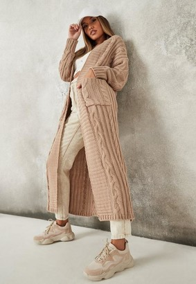 Missguided Petite Camel Maxi Cable Knit Cardigan
