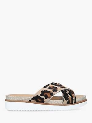 Carvela Kream Cross Strap Slide Sandals, Brown