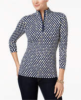 Charter Club Petite Printed Zip-Neck Top, Created for Macy's
