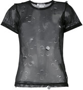 Comme des Garcons sheer cut out top - women - Polyester - M