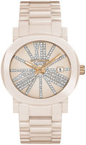 Wittnauer Womens Crystal-Accent Light Pink Ceramic Strap Bracelet Watch WN4071