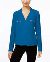INC International Concepts Zip-Pocket Surplice Blouse, Only at Macy's