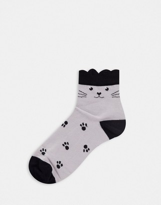 ASOS DESIGN cat printed socks with ears in gray and black