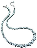 Fiorelli Costume Collection Ladies N2881 Graduated Synthetic Grey Pearl Necklace with Crystal Spacers Length 60-65cm adjustable