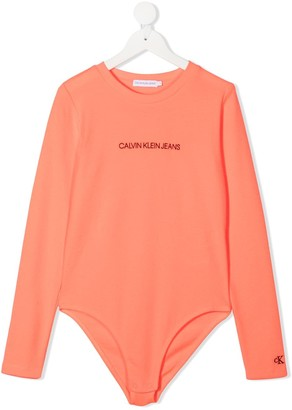 Calvin Klein Kids TEEN logo print long-sleeve top