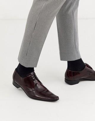 Jeffery West Pino diamond shoe in burgundy leather-Red