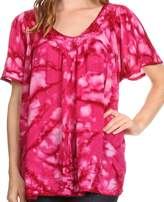 Sakkas 16780 - Laylah Long Wide Short Sleeve Embroidery Lace Sequin Blouse Shirt Tunic Top - OS