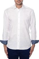 Bertigo White Camo Jacquard Button Front Shirt