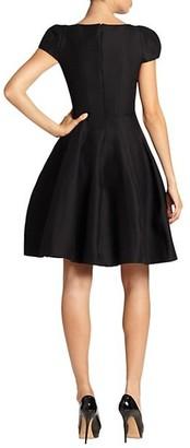 Halston Cap-Sleeve Sateen Dress