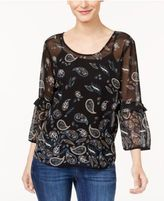 Style&Co. Style & Co Printed Crisscross Top, Created for Macy's