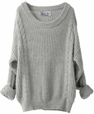 Liny Xin Women's Cashmere Wool Oversized Sexy Loose Knitted Crew Neck Long Sleeve Winter Warm Long Jumper Dresses (Light Grey)