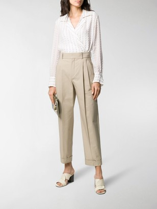 Chloé High-Waisted Pinstriped Trousers