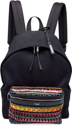 Saint Laurent Men's City Cotton Bead-Pocket Backpack