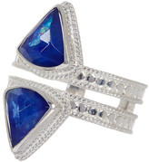 Anna Beck Sterling Silver Double Row Lapis Triplet Ring