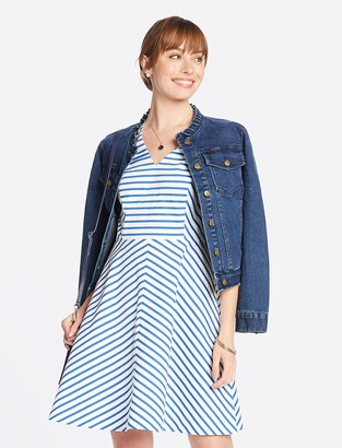 Draper James Sailor Stripe V-Neck Sleeveless Love Circle Dress