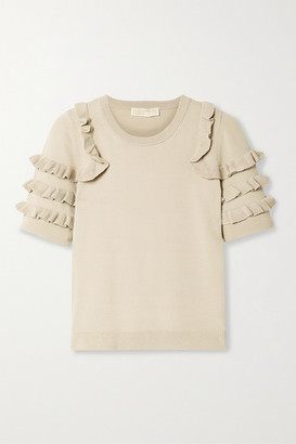 MICHAEL Michael Kors Ruffled Stretch-knit Top - Beige