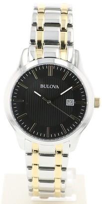 Bulova Men's 98B237 Two-tone Stainless Black Dial Bracelet Watch