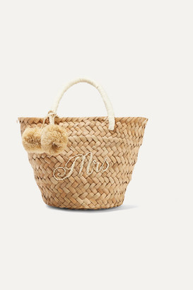 Kayu St Tropez Mini Pompom-embellished Embroidered Woven Straw Tote - Sand