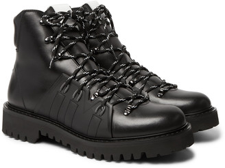 Valentino Urgan Shearling-Lined Rubber-Trimmed Leather Boots