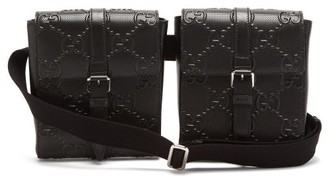Gucci GG-embossed Perforated-leather Belt Bag - Black