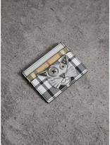 Burberry Creature Appliqué Metallic Leather and Check Card Case