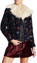 Free People Jacquard Wool Faux Fur Trim Jacket