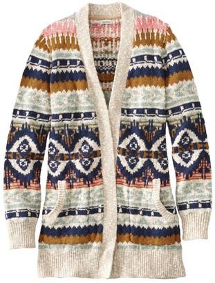 L.L. Bean Women's Cotton Ragg Sweater, Open Cardigan Fair Isle