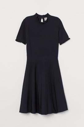 H&M Pleated-skirt Dress - Blue