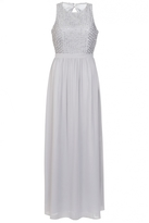 Quiz Grey Chiffon Pearl High Neck Maxi Dress