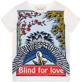 """Gucci Children's T-shirt with """"Blind for Love"""" and heron print"""