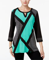 JM Collection Colorblocked Keyhole Tunic, Only at Macy's