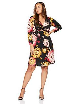 London Times Women's Plus Size Long Sleeve Twist Front FIT and Flare Dress