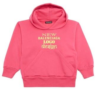 Balenciaga Kids Unisex New Logo Cotton-blend Hooded Sweatshirt - Pink