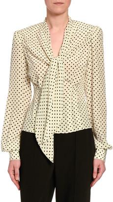 Dolce & Gabbana Polka-Dot-Print Chiffon V-Neck Blouse