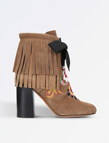 Etro Fringe embroidered suede heeled ankle boots