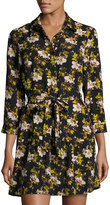 Collective Concepts Floral-Print Spread-Collar Shirtdress, Black