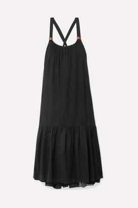 Tibi Leilei Faux Leather-trimmed Lyocell Midi Dress - Black