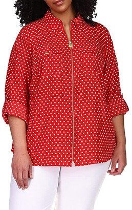 MICHAEL Michael Kors Size Lock Zip Shirt (Crimson) Women's Clothing