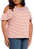 Lauren Ralph Lauren Plus Striped Cutout Jersey Top