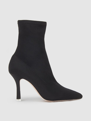 Black Suede Studio Akiyo Leather Ankle Boot