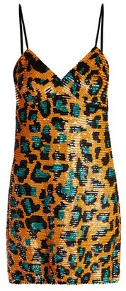 Ashish Leopard Sequin-embellished Georgette Mini Dress - Orange Multi