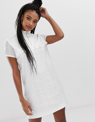 Daisy Street shift dress with ring pull and ruffle detail in broderie-White