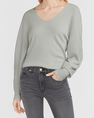 Express Soft Knit Balloon Sleeve V-Neck Sweater