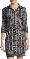 Max Studio Belted Stripe-Print Jersey Shirtdress, Black/Parchment