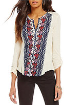 Lucky Brand Button Front Placed Print Top